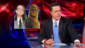 Colbert Defends TSA for Investigating Chewbacca Actor's Lightsaber Cane (Video)