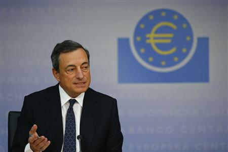Draghi President of the European Central Bank answers reporters questions during the ECB's monthly press conference in Frankfurt