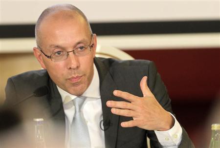 "ECB executive board member Asmussen speaks during the debate ""European Economic Integration: Challenges and Opportunities"" in Vilnius"