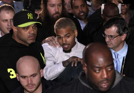 Rapper Chris Brown leaves the U.S. District Court in Washington