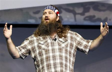"Willie Robertson of the reality television show ""Duck Dynasty"" speak at the Wal-Mart Stores, Inc. U.S. Associates meeting in Fayetteville"
