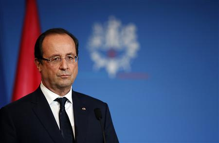 France's President Hollande attends a news conference at the Oceanographic museum during a one day visit in Monaco