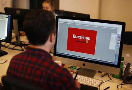 BuzzFeed employee works on a computer at their office in New York