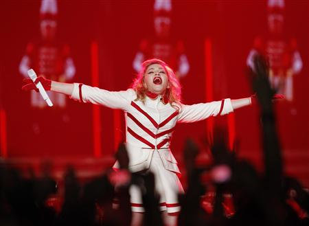 File of Madonna performing at the Staples Center as part of her MDNA world tour in Los Angeles