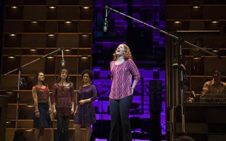 "Jessie Mueller sings onstage during the ""Beautiful - The Carole King Musical"" press preview at the Stephen Sondheim Theatre in New York"