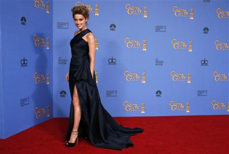 Actress Amber Heard poses backstage at the 71st annual Golden Globe Awards in Beverly Hills