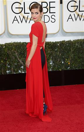 Emma Watson arrives at the 71st annual Golden Globe Awards in Beverly Hills