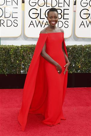 Lupita Nyong'o arrives at the 71st annual Golden Globe Awards in Beverly Hills