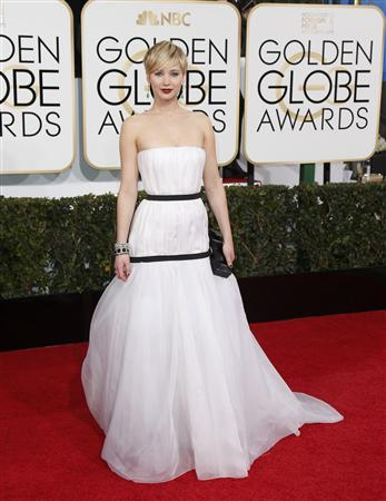 Jennifer Lawrence arrives at the 71st annual Golden Globe Awards in Beverly Hills