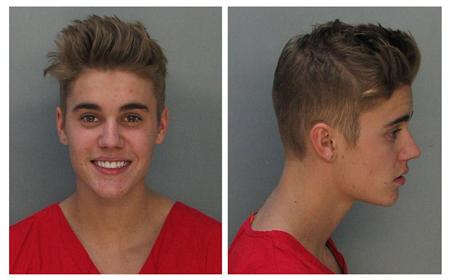 Combination photo of booking photos of Canadian teen pop singer Bieber in Miami Beach