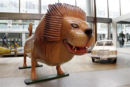 A lion shaped coffin is seen at the Southbank Centre in London