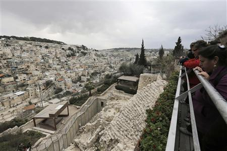 Visitors tour at the archaeological site known as the City of David, situated just outside the Old City in East Jerusalem, opposite the mostly Arab East Jerusalem neighbourhood of Silwan