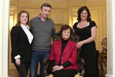 Philomena Lee poses with her daughter Jane, actor Coogan and Lohan, founder of Adoption Rights Alliance, in Rome