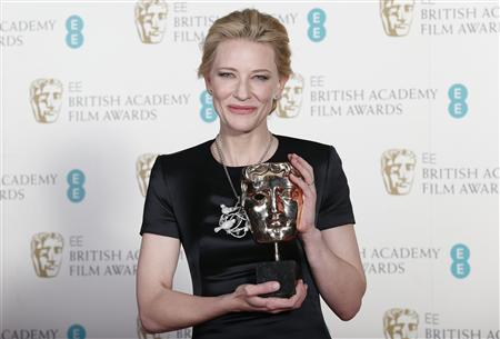 "Cate Blanchett celebrates winning Best Actress for ""Blue Jasmine"" at the BAFTA awards ceremony in London"