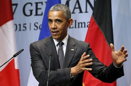 U.S. President Barack Obama holds a news conference at the conclusion of the G7 Summit in Kruen, Germany