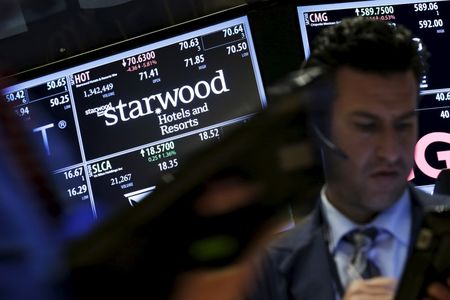 Traders stand by the post where the stock for Starwood Hotels & Resorts Worldwide Inc is traded on the floor of the New York Stock Exchange