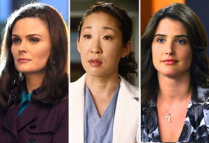 Emily Deschanel (Bones), Sandra Oh (Grey's Anatomy), Cobie Smulders (How I Met Your Mother) | Photo Credits: Ray Mickshaw/Fox; Vivian Zink/ABC; Ron P. Jaffe/Fox