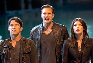 Stephen Moyer, Alexander Skarsgard, Lucy Griffiths | Photo Credits: Lacey Terrell/HBO