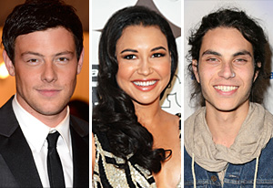 Cory Monteith, Naya Rivera, Samuel Larsen | Photo Credits: Kevin Mazur/WireImage; Mike Coppola/WireImage; Ryan Miller/Getty Images