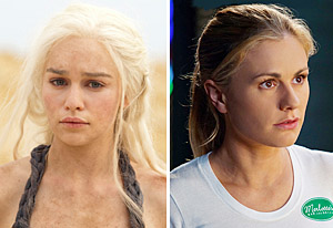 Emilia Clarke, Anna Paquin | Photo Credits: HBO