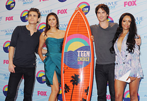 Paul Wesley, Nina Dobrev, Ian Somerhalder and Kat Graham | Photo Credits: Jon Kopaloff/FilmMagic