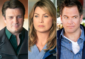 Nathan Fillion, Ellen Pompeo, Michael Weatherly | Photo Credits: Randy Holmes/ABC, Richard Cartwright/ABC, Greg Gayne/CBS