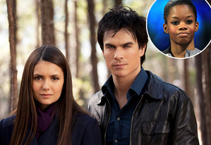 Nina Dobrev, Ian Somerholder, with an inset of Gabby Douglas | Photo Credits: Bob Mahoney/The CW; Ronald Martinez/Getty Images