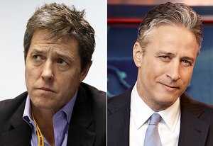 Hugh Grant, Jon Stewart | Photo Credits: Dan Kitwood/Getty Images, Comedy Central