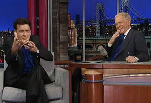 Charlie Sheen, David Letterman | Photo Credits: CBS