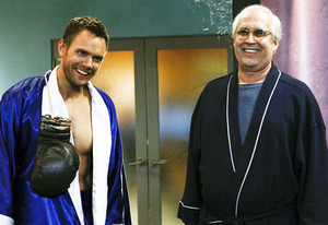 Joel McHale and Chevy Chase | Photo Credits: Vivian Zink/NBC