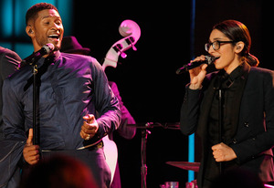 Usher, Michelle Chamuel | Photo Credits: Trae Patton/NBC