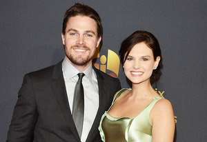 Stephen Amell and Cassandra Jean | Photo Credits: George Pimentel/Getty Images