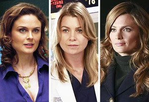 Emily Deschanel, Ellen Pompeo, Stana Katic | Photo Credits: Greg Gayne/FOX; Ron Tom/ABC; Ron Tom/ABC