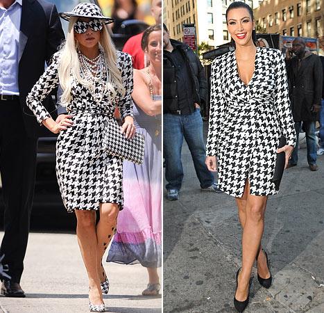 Kim Kardashian Copies Lady Gaga's Houndstooth Look!