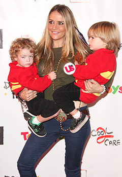 Oops! Brooke Mueller Exposes Breasts With Sons on Red Carpet