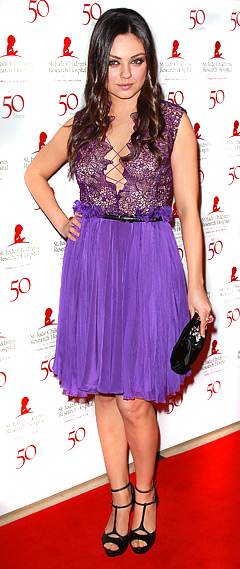 Mila Kunis' Cleavage-Baring Purple Lace Dress: Love It or Hate It?