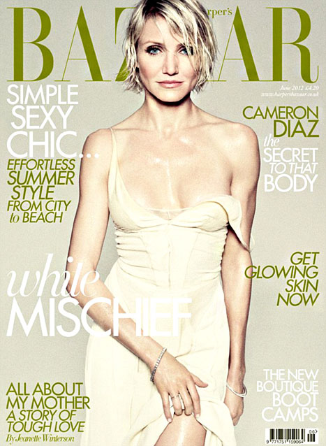 Soaking Wet Cameron Diaz Shows Major Cleavage on Harper's Bazaar UK Cover