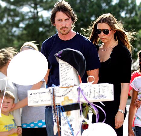 Christian Bale, Wife Visit Makeshift Aurora Memorial