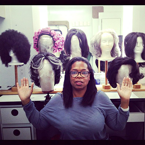 Oprah Winfrey Goes Without Makeup, Shows Off Wig Collection