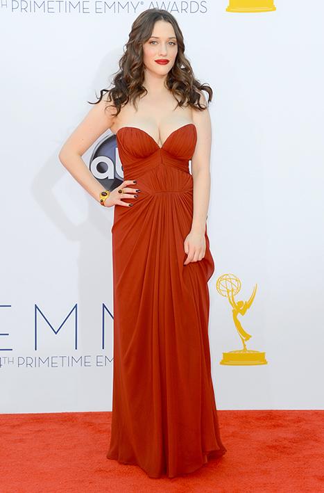 Kat Dennings Worries About Wardrobe Malfunction at 2012 Emmy Awards