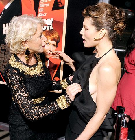 Helen Mirren Grabs Jessica Biel's Boob?