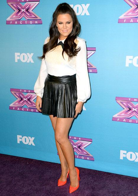 Khloe Kardashian Reveals Sexy Legs in Leather Mini-Skirt on X Factor Finale