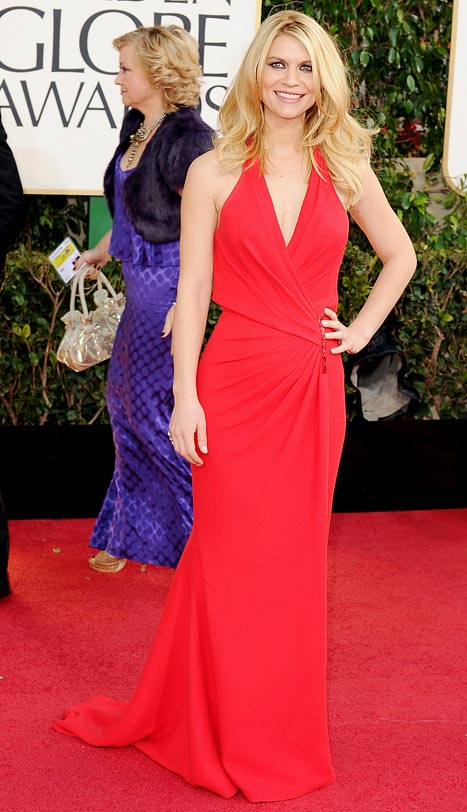 Golden Globes: Claire Danes Shows Off Slim, Stunning Post-Baby Body in Red Versace Gown