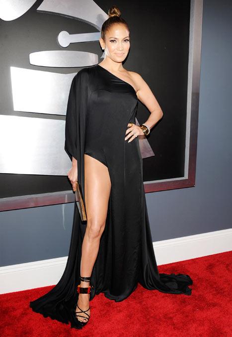 Jennifer Lopez Flashes Leg Like Angelina Jolie at Grammys 2013