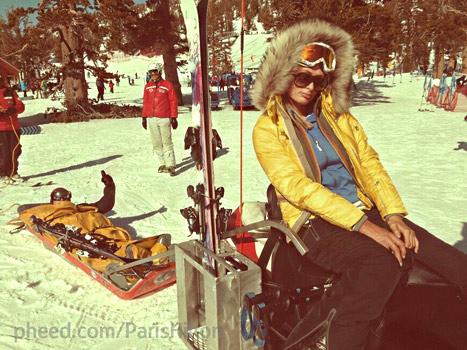 Paris Hilton Poses in Front of Injured, Bleeding Boyfriend River Viiperi on Ski Trip: Pictures