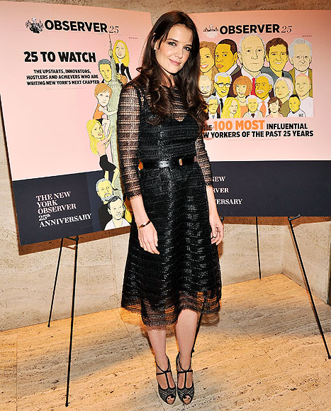 Katie Holmes Rocks Sexy Mesh Dress at New York Observer Bash