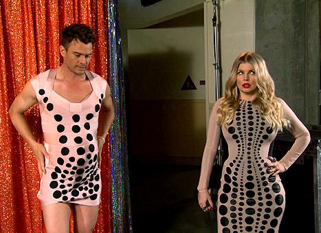 Josh Duhamel and Fergie Wear Matching Baby Bumps and Bandage Dresses
