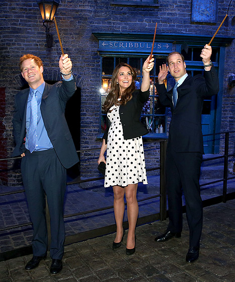 Kate Middleton, Prince William and Prince Harry Tour Warner Bros. Studios