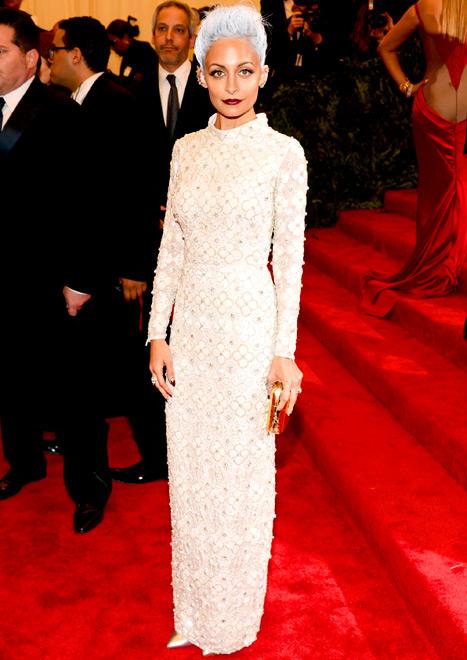 Nicole Richie Rocks Short Gray-Blue Hair, Long White Topshop Dress at Met Gala 2013