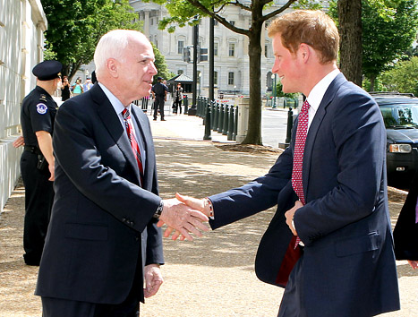 Prince Harry Kicks Off U.S. Trip on Capitol Hill, Meets John McCain: Picture